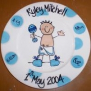 Handpainted Plate - Dotty Baby Boy